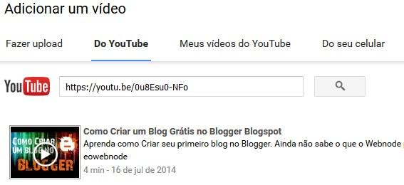 Adicionar Vídeos do Youtube