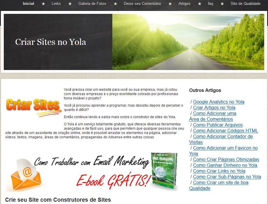 criar site grátis no yola