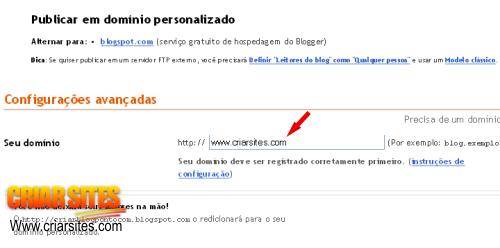 Blogger  Criar Blog - Configurações da publicação domínio em registrar