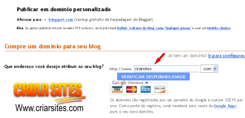 Blogger Criar Blog - Configurações da publicação escolher o domínio