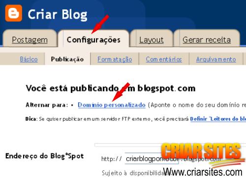 Blogger  Criar Blog - Configurações da publicação