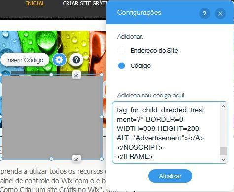 adicionar codigo html na pagina