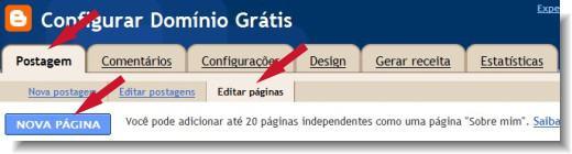 adicionar nova página no blogger
