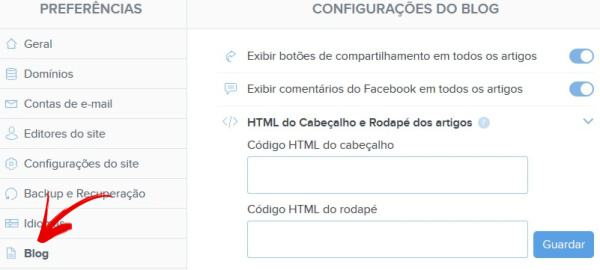 Como configurar blog Webnode