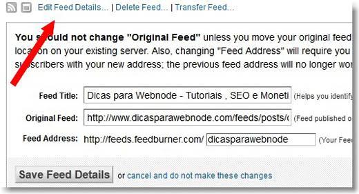 alterar endereço do site no feedburner