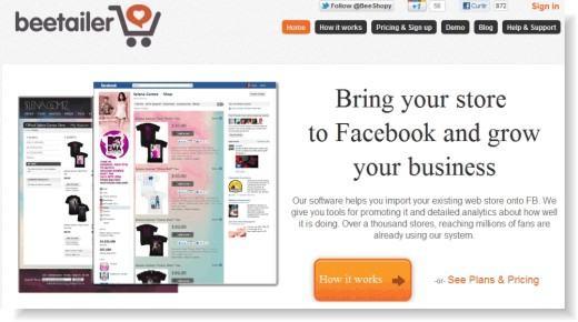 beetailer - aplicativo de loja virtual para o Facebook