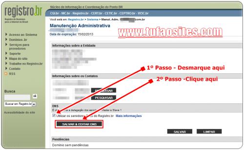 como configurar domínio no registro br