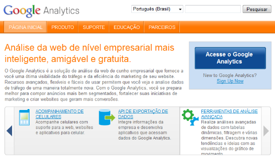 Home Page do Google Analytics