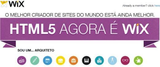 Crie Site Grátis em HTML5 no Wix