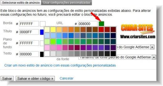 customização das cores