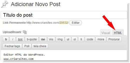 editor html do wordpress