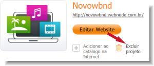 excluir um site no Webnode
