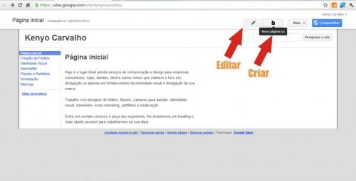google sites adicionar nova pagina