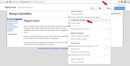 google sites configuraca da pagina