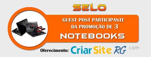 Selo da Promoção de 3 Notebooks do CriarSites