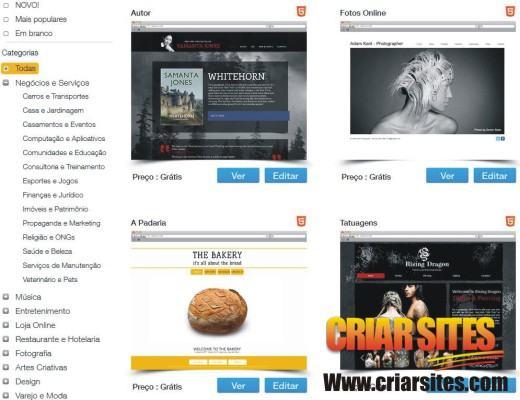Crie um site gr tis em html5 no wix profissional for Wix templates for wordpress