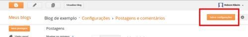Configurações postagens e comentários 2