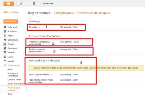 Configurações preferências de pesquisa 1