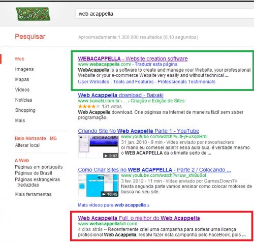 Resultado para webacappella no google