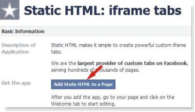 adicionar página estática no facebook