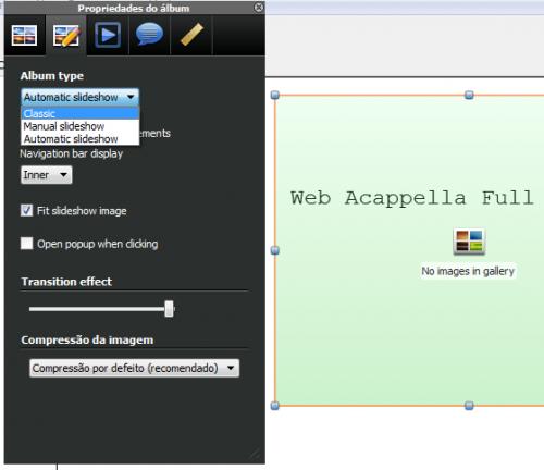slideshow no Web Acappella