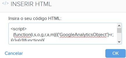 Inserir código HTML