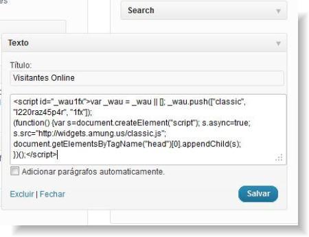 adicionar código no widget de texto