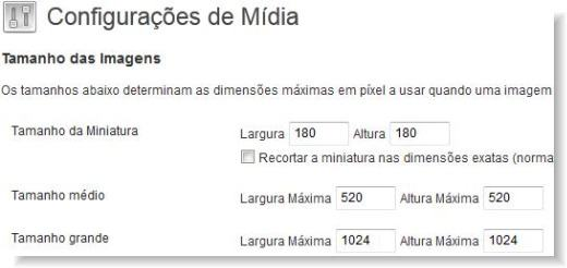 configuração de midia