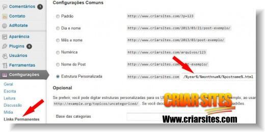 configurar links permanentes igual ao blogger