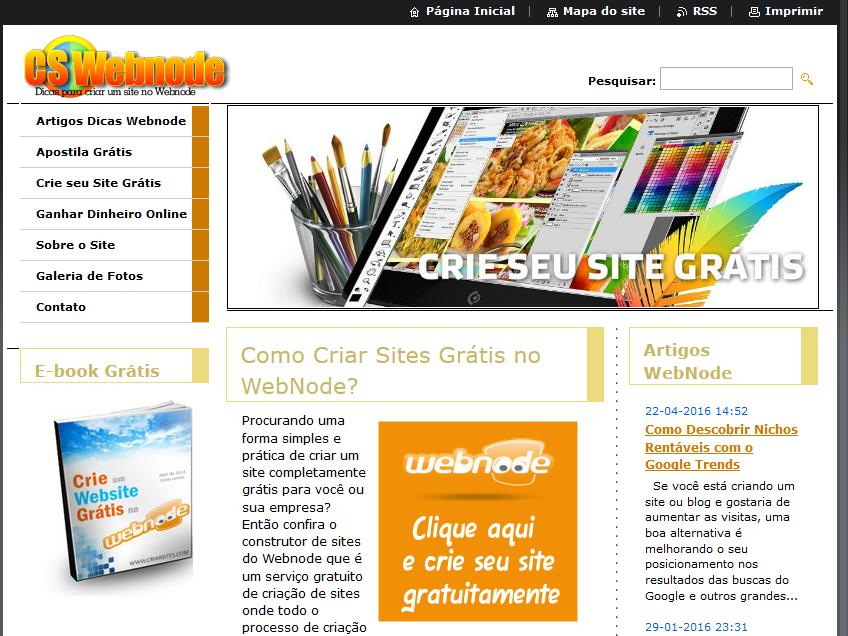 Site Grátis no Webnode