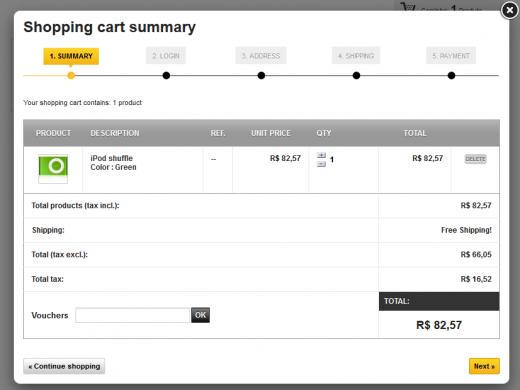 carrinho de compras no webacappella
