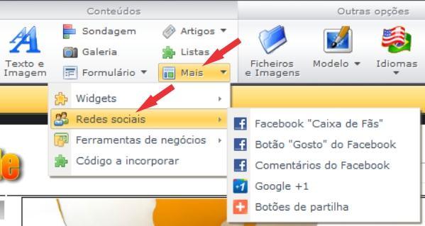 redes sociais no webnode