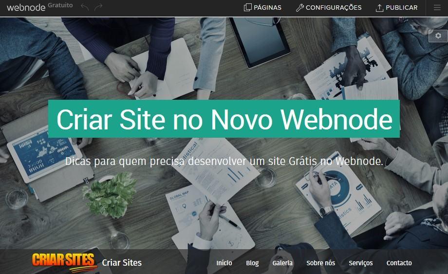 Painel de Controle do Novo Webnode