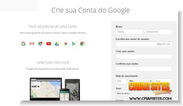 Criar conta no Google
