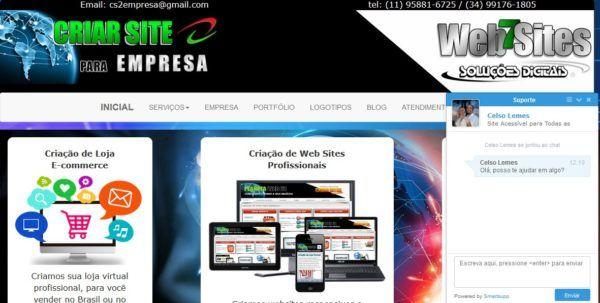 Criar Site para Empresa com Chat Online