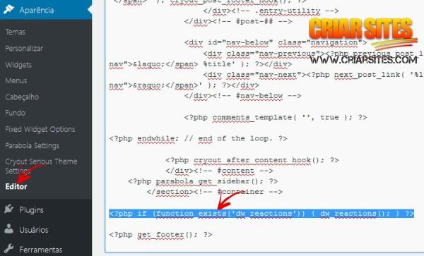 editar template com o código do DW Reactions