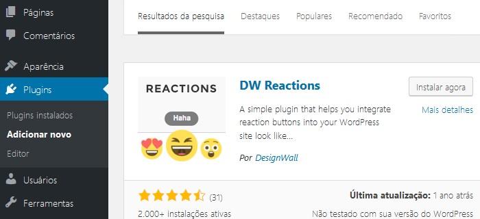 instalar dw reactions no wordpress
