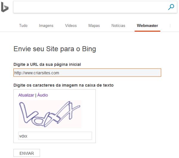 Cadastrar no Bing