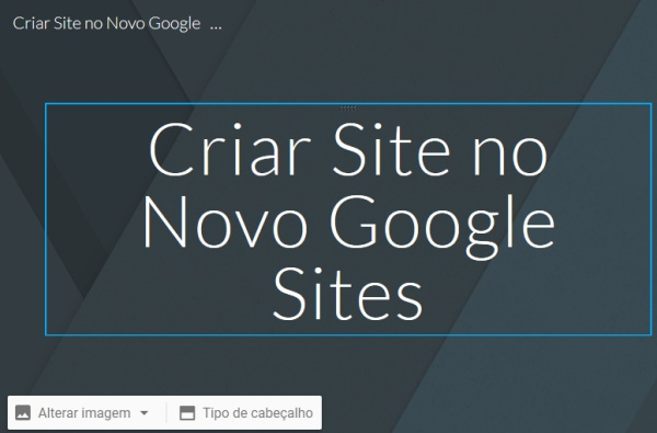 Editar título no Novo Google Sites