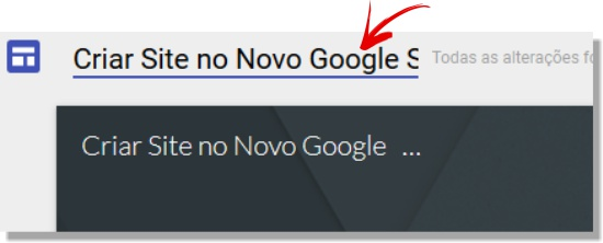 Customizar título do site no Google Sites