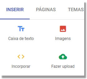 Adicionar elementos nas páginas no novo google sites